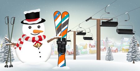 Snowman with ski equipment background Illustration