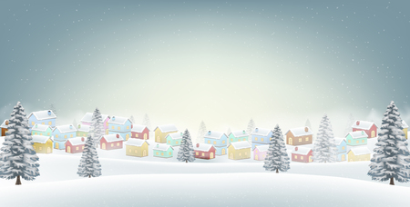Village with snow winter background Illustration