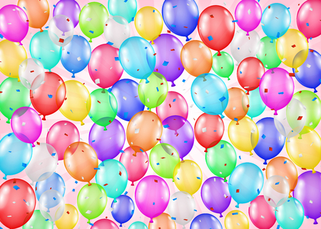 Group of colorful balloons and confetti background Illustration