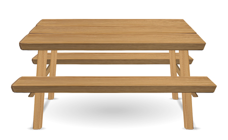 picnic wood table on a white background Stock Illustratie