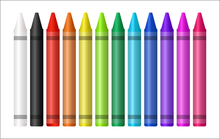 Set of color crayons on white background