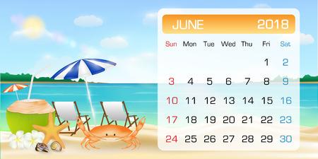Calendar of JUNE 2018 theme summer beach relax Stock Illustratie