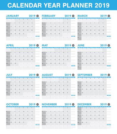 シンプルな2019年プランナーカレンダーセット