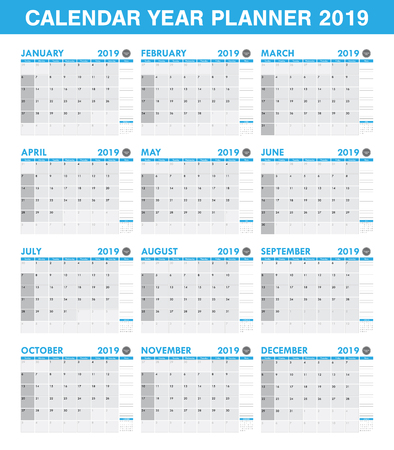 simple 2019 year planner calendar set of all month Stock Vector - 92108153