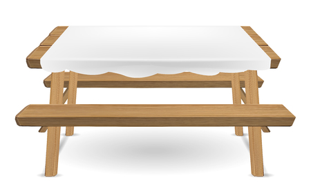 wood picnic table with white tablecloth vector Illustration