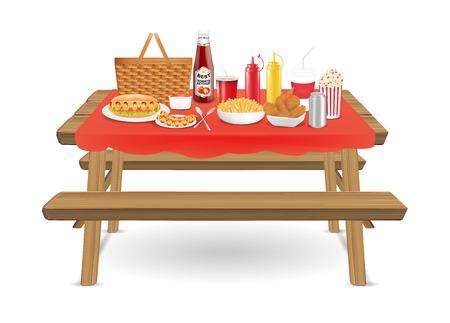 패스트 푸드와 마실 수있는 피크닉 나무 테이블