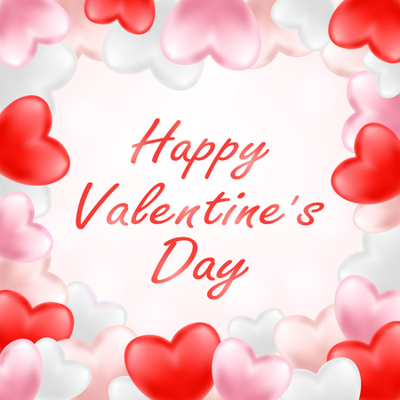 happy valentine day with pink red white heart