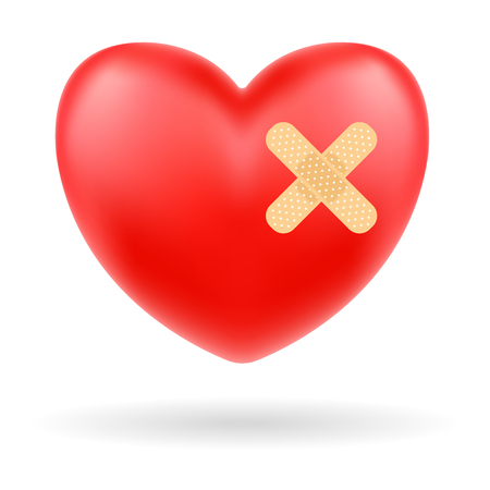Red heart with bandage on white background.