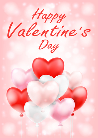 happy valentine's day with pink red white balloons