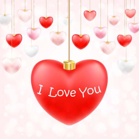 valentine hanging heart with i love you