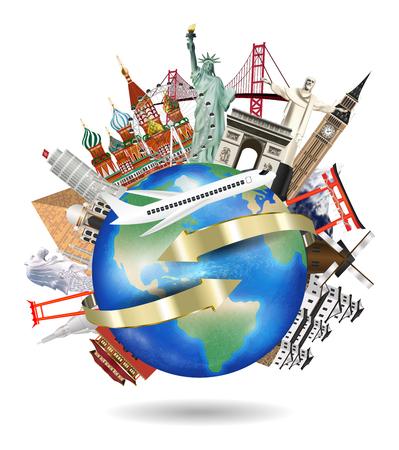 airplane flying around the world with landmark Illustration