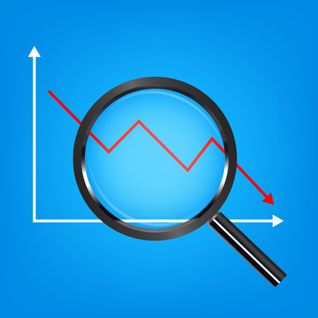 Black magnify glass analysis falling stock graph illustration. Illustration