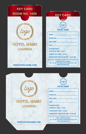 Hotel key card holder folder package template design.