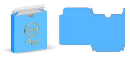 Box packaging die cut template design. 3d mock-up illustration. Illustration
