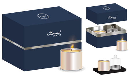 Aroma candle package box design 3d mockup.