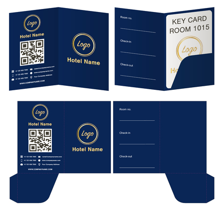 Hotel key card holder folder package template.