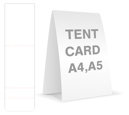 Tent card die cut mock up template vector.