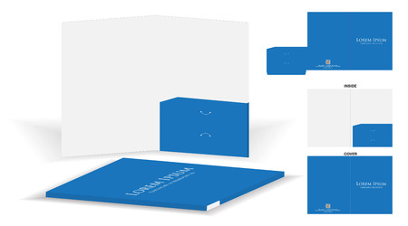Folder die cut mock up template vector.