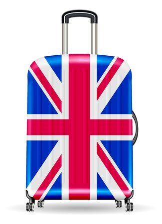 Real travel luggage bag with united kingdom flag
