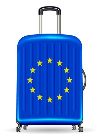 Real travel luggage bag with european flag