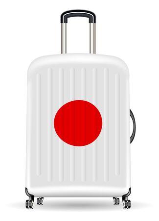 Real travel luggage bag with japan flag
