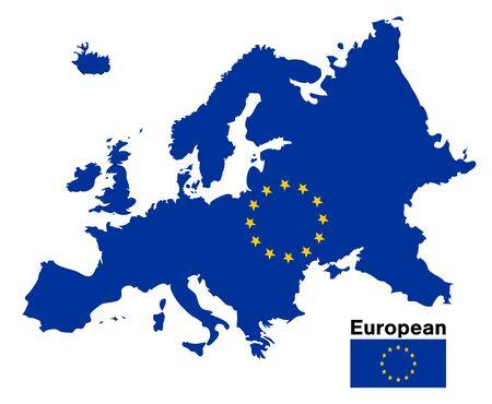 European flag map on a white background Illustration