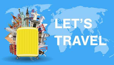lets travel with luggage bag and world landmark Illustration