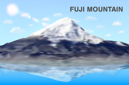 fuji mountain reflex on water vector eps10 Illustration