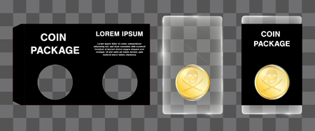 acrylic coin packaging with die cut paper block design Illustration