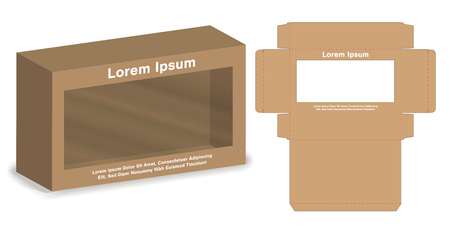 box with plastic window die cut mock up template vector.