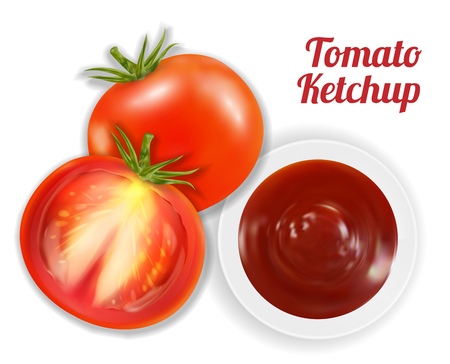 tomato ketchup suace in dish with tomato