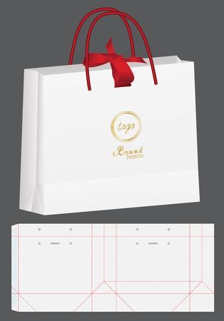 paper bag packaging die-cut and 3d bag mockup