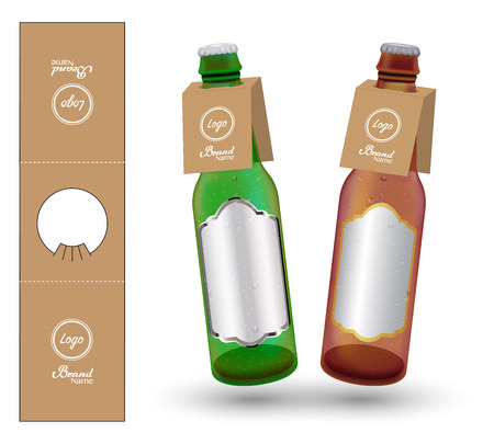Paper Bottle Neck Hang Tag die-cut vector Illustration