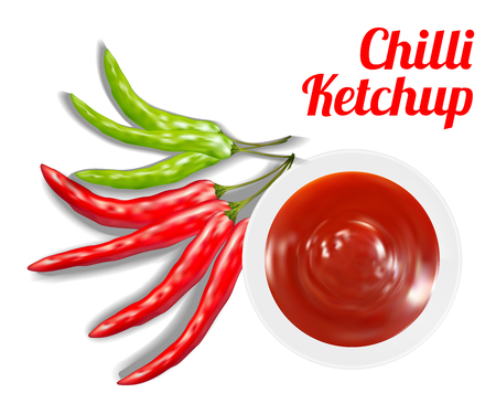 chilli ketchup suace in dish with chilli Illustration