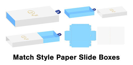 Slide box die cut mock up template vector.