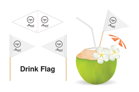 A drink flag with wood stick template vector