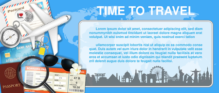 A time to travel with airplane and travel object Illustration