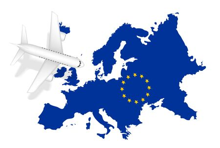 Airplane flight travel to Europe on map isolated on plain background.