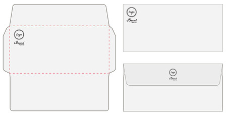 Envelope die cut mock up template vector isolated on plain background.