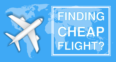 A finding cheap flight with airplane on world map