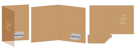 Folder die cut mock up template Vector illustration. Illustration