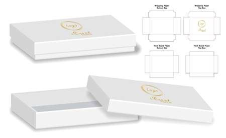 Box packaging die cut template design. 3d mock-up Vector illustration. Illustration