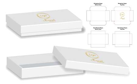 Box packaging die cut template design. 3d mock-up Vector illustration. Vettoriali