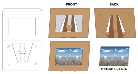 picture photo paper frame stand die-cut mock-up Vector illustration. Illustration