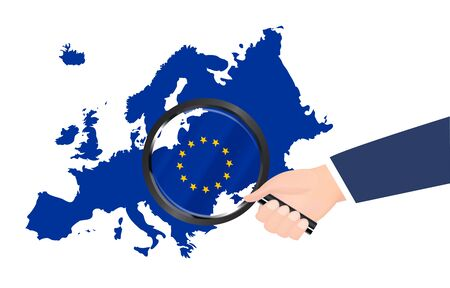 magnifying glass search on europe map Vector illustration.