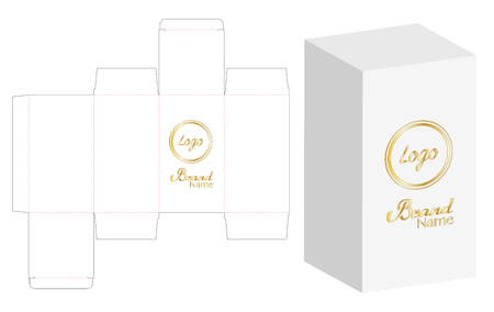 Box packaging die cut template design. 版權商用圖片 - 96840265