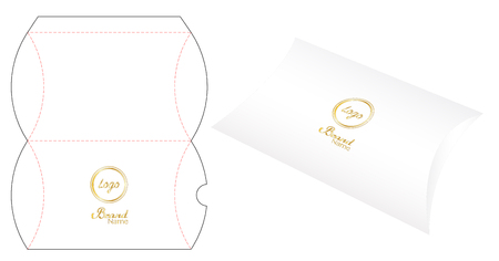 Pillow pack box die-cut template Illustration