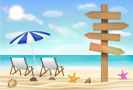 Direction wood board sign on sea sand beach