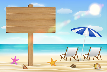 Wood board sign on sea sand beach with relax chair Illustration