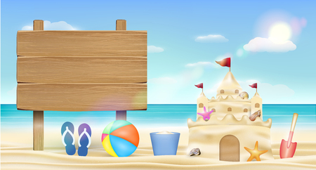Wood board sign on sea sand beach with sand castle Illustration
